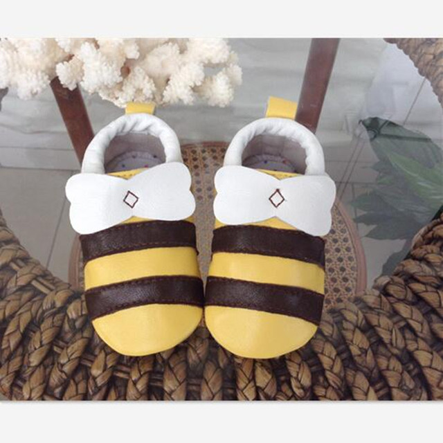 New Autumn High Quality Genuine Leather Baby First Walkers Cute Cartoon Bee Baby Shoes Newborn Boy Sheepskin Toddler Moccasins