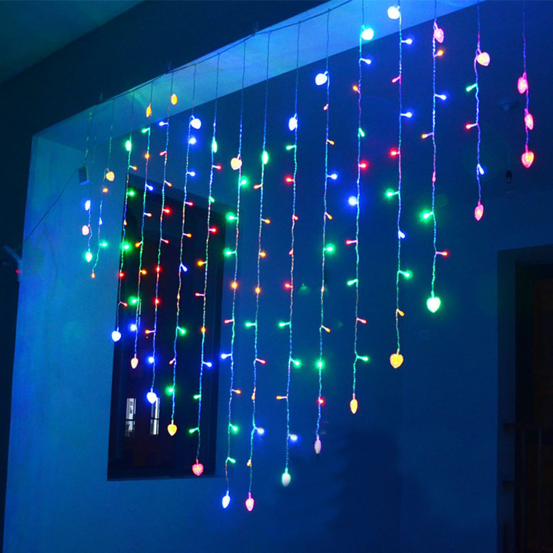 aliexpresscom buy 2x16m heart shape led string lights 34 hearts christmas lights multicolor holiday wedding decoracao curtain lamps euusukau from - Multicolor Christmas Lights