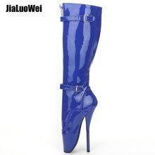Jialuowei 2018 yeni gelmesi 18CM aşırı yüksek topuk seksi fetiş Goth bale botları PU Patent Zip toka askı diz yüksek uzun çizmeler