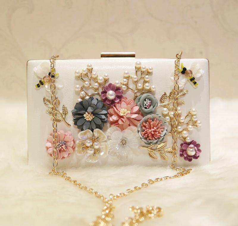 Bags women's handbag 2017 day clutch fashion flower chain one shoulder cross-body small square bag dinner clutch wedding bag