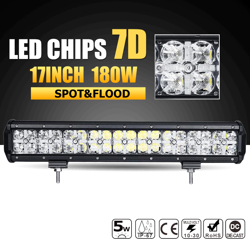 Oslamp 7D 180W 17 LED Offroad Light Bar Combo Beam Led Work Light Bar Driving Lamp Boat Truck SUV ATV 4x4 4WD 12v 24v Led Bar oslamp 42inch led light bar 5d 400w led bar offroad led working light combo beam 12v 24v truck boat suv atv 4x4 4wd driving lamp