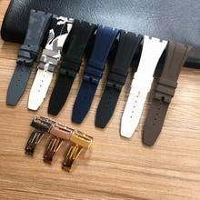 26mm Hohe Qualität Camo Grau Weiß Schwarz Blau Braun Grün silikon Gummi Uhr Band faltschließe Für AP Royal eiche Armband