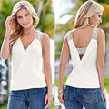 Fashion 2016 Summer Women Top T Shirt High Quality Hollow Out Patchwork White Chiffon Tops T-Shirt V-neck Sleeveless Blusa Tops