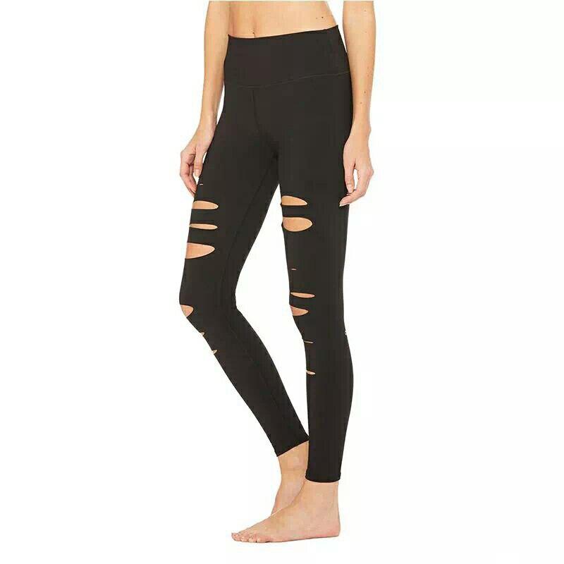 Broken Hole Leggings For Women Black Work Out Leggins Sporting Fitness