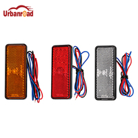 Urbanroad 10PCS Motorcycle Rectangle Reflector Tail Brake Turn Signal Light Lamp 24LED Car Motorcycle Truck Side Warning Lights