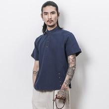 2017 Top Fashion Sale Casual Shirts Mandarin Collar Solid The Summer Short Sleeved Shirt Mens Thin Slim Linen Men Casual