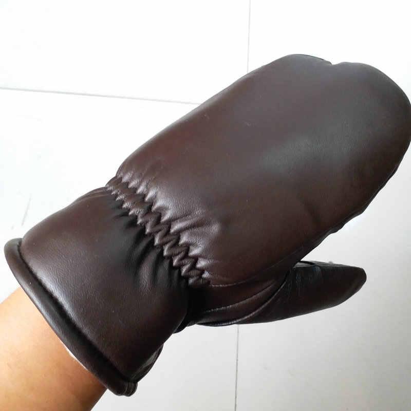 2019 メンズシープスキン手袋革手袋男性の冬の屋外暖かい毛皮の肥厚熱手袋