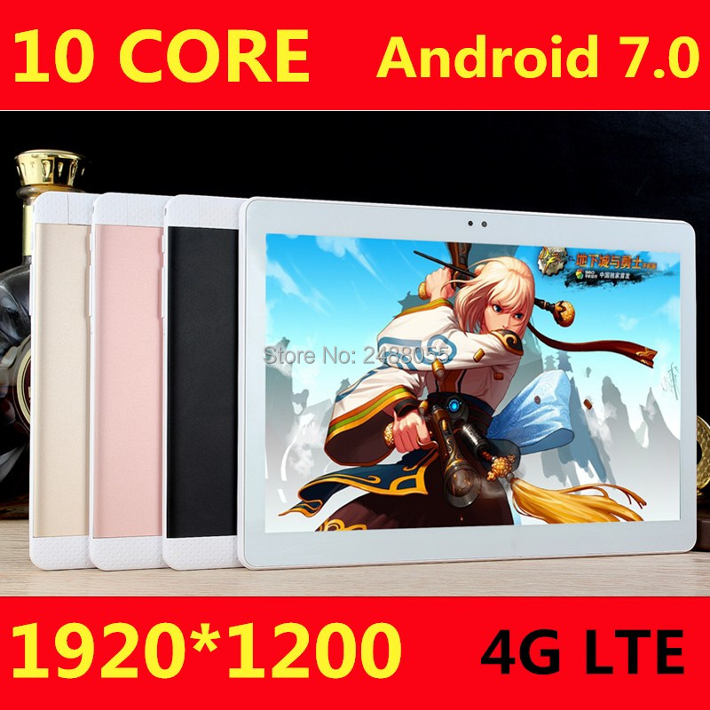 10.1 pouces tablette pc Deca 10 core MTK6797 3G 4G GPS Android 7 4 GB 64 GB ROM Phablet Pc 10 double caméra 8.0MP 1920*1200 IPS écran