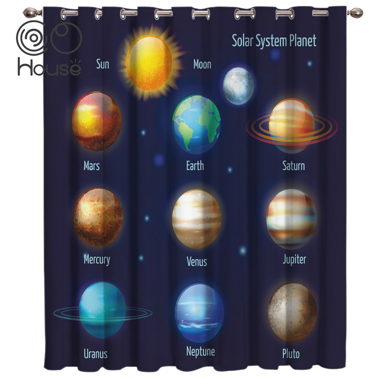 CoCoHouse Galaxy Solar System Planet Window Treatments Curtains Valance Living Room Bedroom Kitchen Indoor Kids Curtain Panels