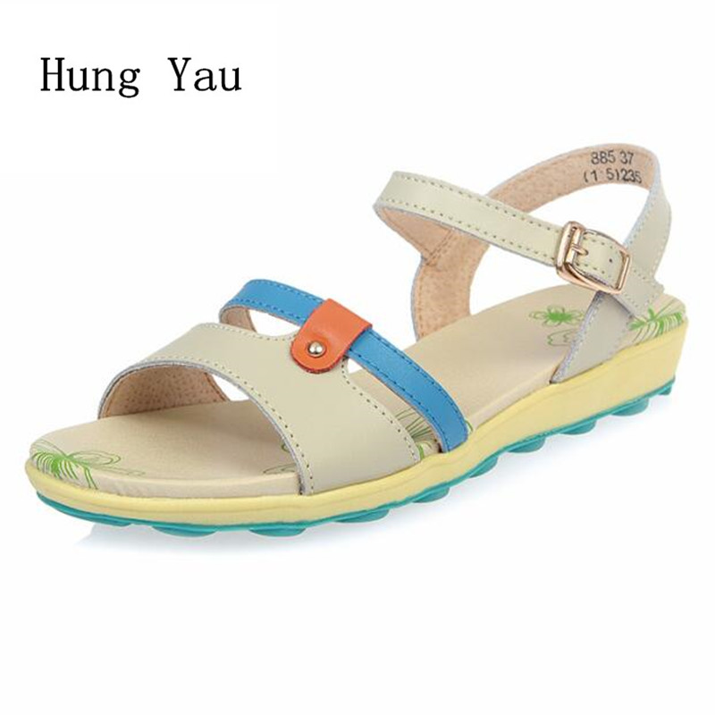 Women Sandals 2017 Summer Genuine Leather Shoes Woman Flip Flops Wedges Fashion Platform Female Slides Ladies Shoes Buckle fashion gladiator sandals flip flops fisherman shoes woman platform wedges summer women shoes casual sandals ankle strap 910741