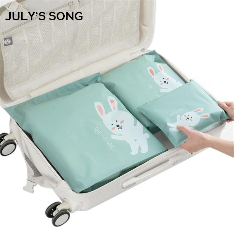 2020 JULY'S SONG 3pcs Travel Zipper Bag Set Storage Organizer For Cloth Socks Travel Accessory