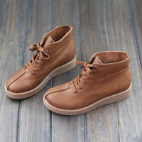 Womens Boots 100 Genuine Leather Ladies Ankle Boots Brown Flat Leather Ankle Boots Spring Autumn Female