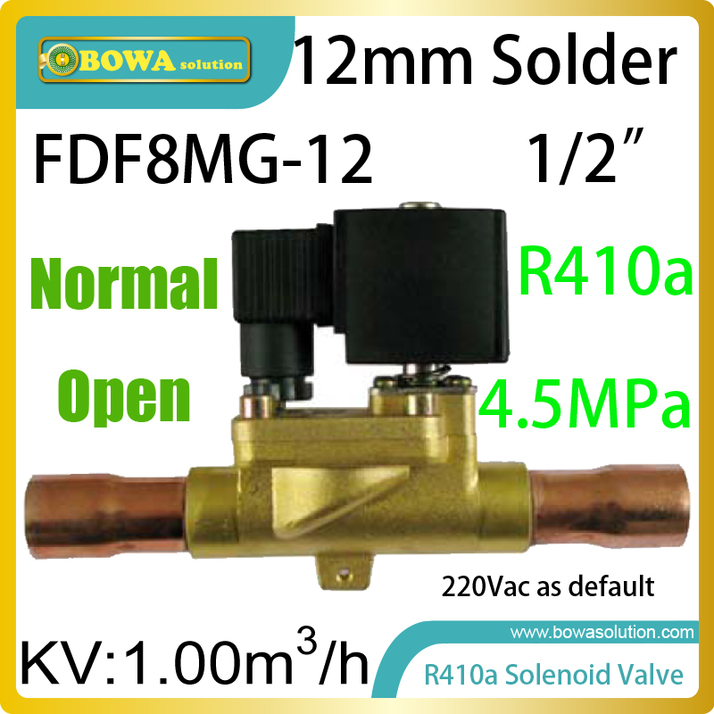 NO (normal open) solenoid valve with  KV 1m3/h is installed hot fluoride defrost pipeline in low temperature freezer units fluoride rechargeability