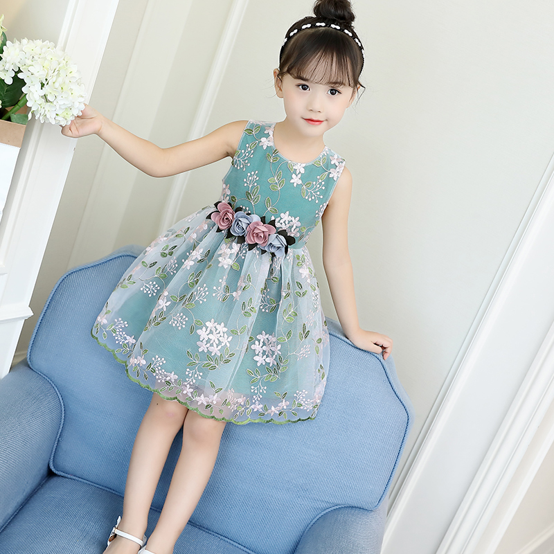 Girls Summer 2-12Years Best Selling New 2018 Summer Girls Dress Print Baby Girl Dress Children's Clothing Children's Dress(China)