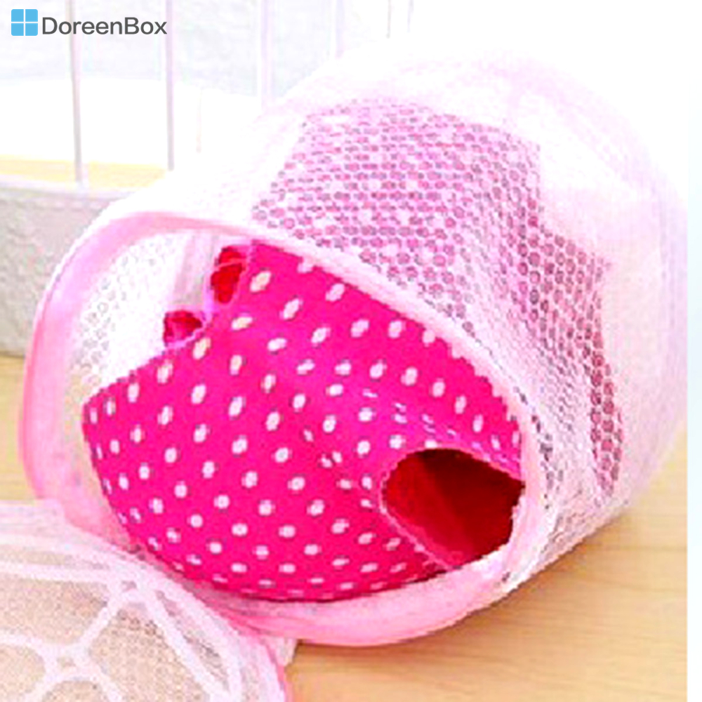 Doreen Box Polyester Storage Container Washing Bags Cloth Bra Cylinder White & Pink Foldable 19cm(7 4/8