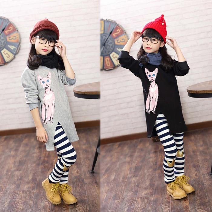 Korean Girls Winter Elastic Shirt pant Two Piece Kids Clothing Sets Grey Black Cotton Cat Printed