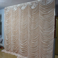 Champagne Ice Silk Ripple Wedding Backdrop for wedding Decorations Party Event Curtain Drape 10ft width
