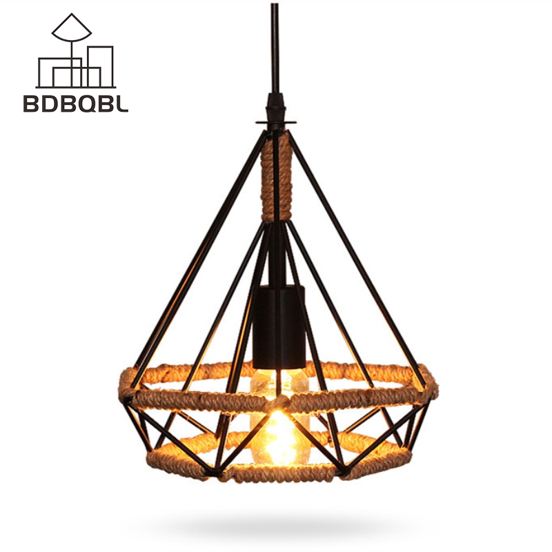 BDBQBL Vintage Iron Pendant Lights Vintage Home Decoration For Living Room 110-240V E27 Base Lamp LED Bulbs Without Switch classic candlestick hollow iron art lamp for romantic wedding home decoration