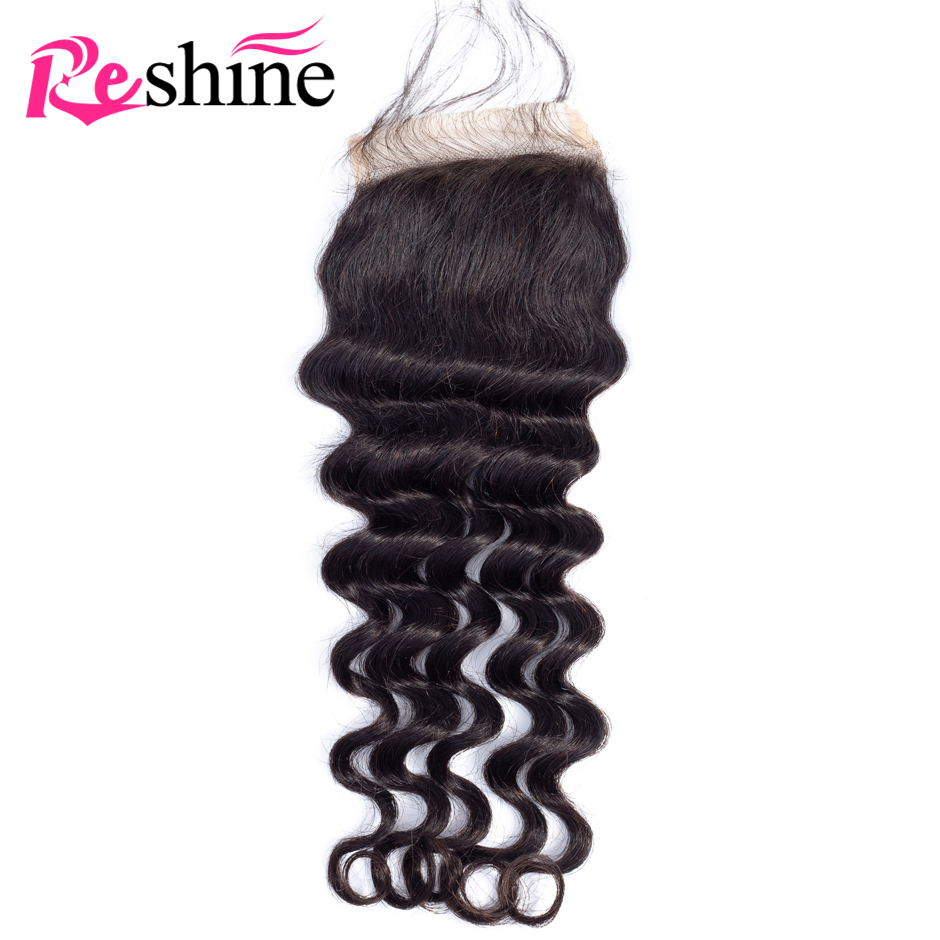 Reshine Loose Deep Wave Closure 4 4 Swiss Lace Free Part Closure With Baby Hair Natural