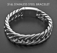 Fashion Jewelry Chain Silver 316L Stainless Steel Bracelet Simple Smooth Link Chain Cuba Bracelet Bangle For Men
