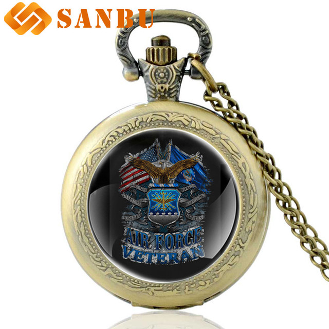 2018 New Arrivals United States Air Force Quartz Pocket Watch Vintage Men Women