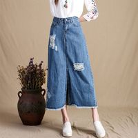 Embroidered Denim Skirts Mori Girl Ripped Hole Bleached Loose Retro Denim Cowboy Skirts Female Plus size Jeans Skirts G112505