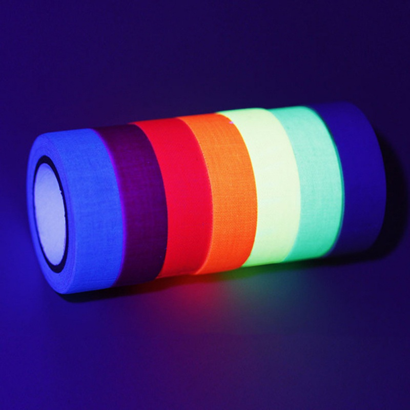 UV Blacklight Reactive Glow in The Dark Tape Neon Gaffer Tape Fluorescent Cloth Tape Safety Warning for Home Decor 6pcs/Set analog watch