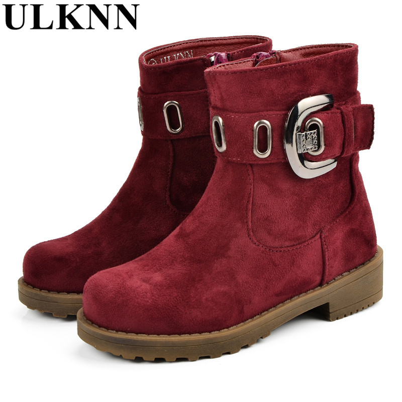 купить ULKNN Winter Children Shoes High Quality Leather Kids Boots Boys Girls Baby Plush Sole Fur Buckle Zip Waterproof Warm Snow Boots онлайн