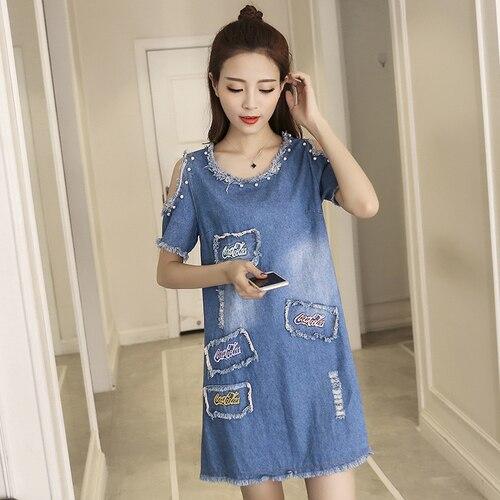 bfdce545cf0 Summer Dress 2018 Lolita Pearl Beading Letter Embroidery Ripped Tassel Off  Shoulder Short Sleeve Jeans Dress Denim Dress 1329