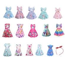Cotton Robe Fille children's Clothes Elbise Frocks Kids Dresses for Girls Sleeveless Costume Lol Unicorn Dress Summer for 2-8T