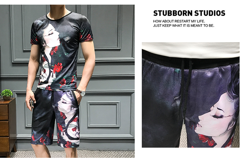 Loldeal Summer 3D Beauty Women's Print Set Ice Silk Short Sleeve T Shirt + Shorts Set Men's Print Butterfly Men's Set-in Men's Sets from Men's Clothing on Aliexpress.com   Alibaba Group 7