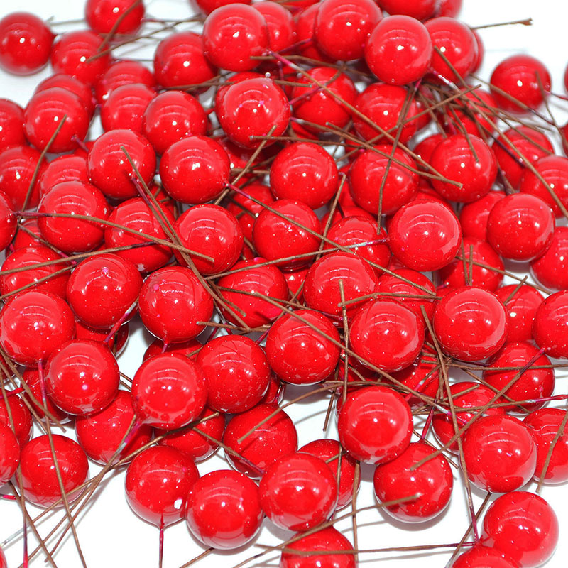 50 шт./лот 15 мм Мини Cherry тычинки жемчуг пластик искусственные тычинки цветок Свадебные Рождество венки DIY Подарочная коробка Декор