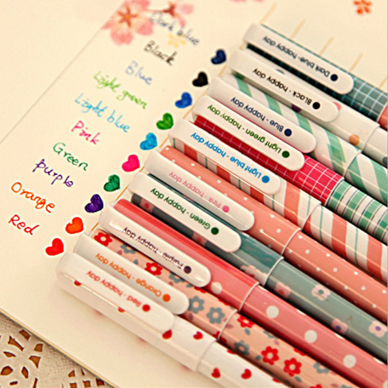 10 Pcs Kawaii Cartoon Colorful Gel Pen Set Cute Korean Stationery Pens For Writting Office School Supplies 10 kinds Color Gift 10 pcs lot new cute cartoon colorful gel pen set kawaii korean stationery creative gift school supplies