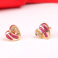 Robira Heart Earrings Jewelry 18K Rose Gold High Quality Natural Ruby Stud Earrings For Women Engagement