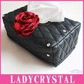Ladycrystal Bonito Couro PU Estilo Do Carro Caixa Do Tecido Carro Caixa de Tecido de Cristal De Diamante Rosa Home Office Titular