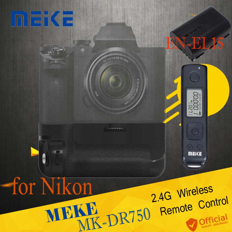 Meike MK-DR750 Battery handle Built-in 2.4g Wireless Control Battery Grip Shutter for Nikon D750 as MB-D16 + EN-EL15 Battery meike mk dr750 vertical battery grip pack holder for nikon d750 rechargeable li ion battery for nikon en el15 cleaning kit