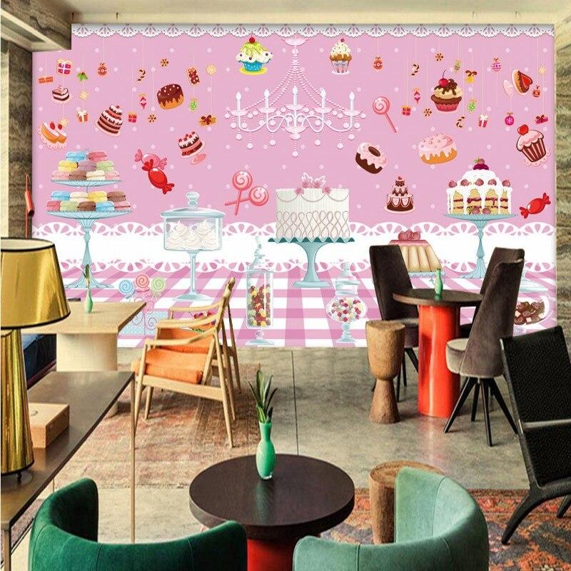Foto wallpaper Lucu Pink Dessert Kue Tema Hotel Wallpaper Mural Kustom Gadis Rumah Mural lukisan Dekoratif
