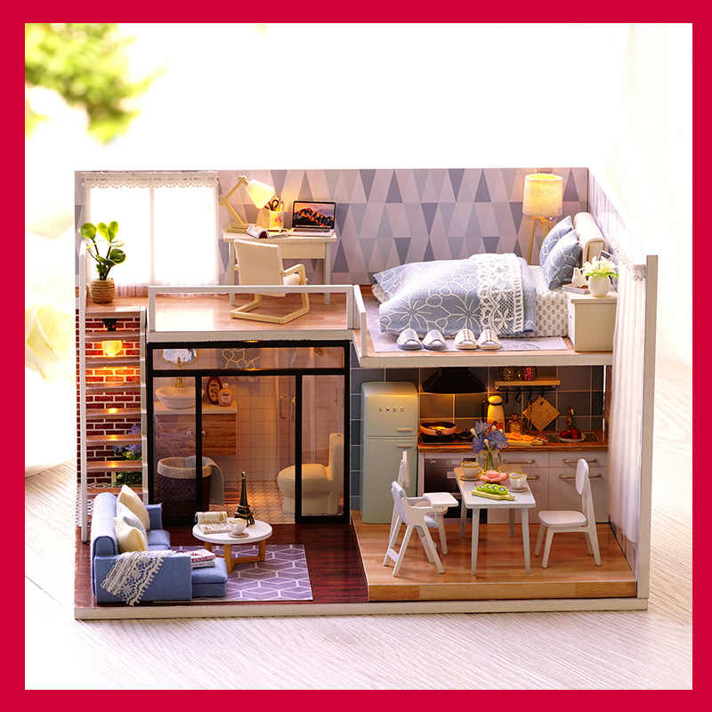 DIY Doll House 1:24 Music Lights Wooden Accessories Small Mini Kids Doll  Houses Dollhouse Miniature Furniture Kit Set Paper Toy
