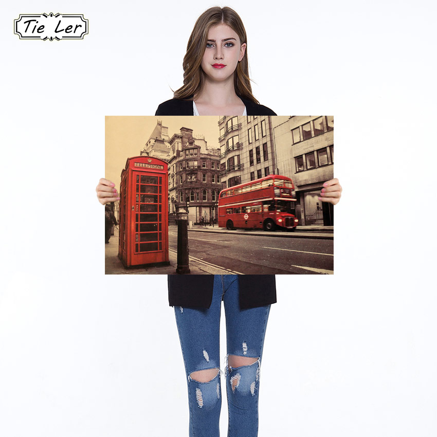 1PC London Red Buse and Telephone Booth Kraft Paper Wall Sticker Cafe Bar Decorated Home Decor Vintage Paper Poster 51.5X36cm(China)