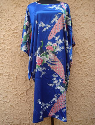 Sexy Blue Chinese Womens Satin Robe Dress Summer Lounge Nightgown Sleepwear Flower Kaftan Gown Mujer Pajamas One size S002-A