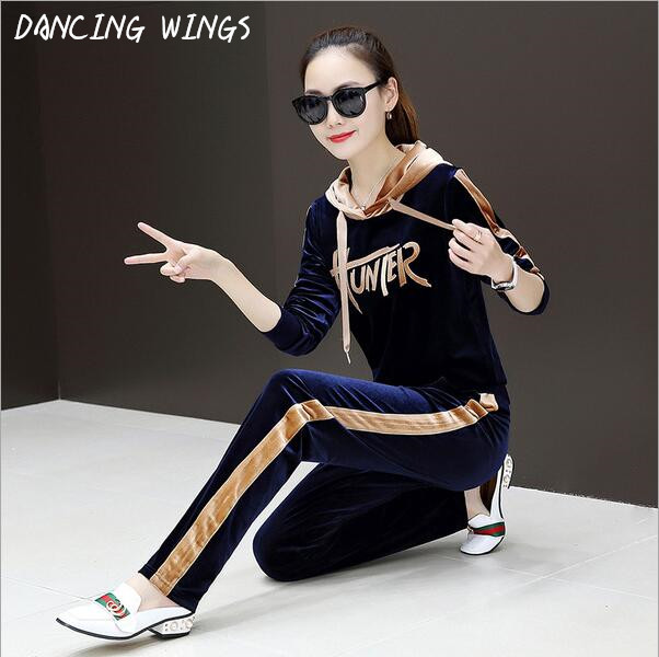 DANCING WINGS Letter Printing Long Sleeve Hooded Top And Pants Gold Velvet Tracksuit Women's Sets