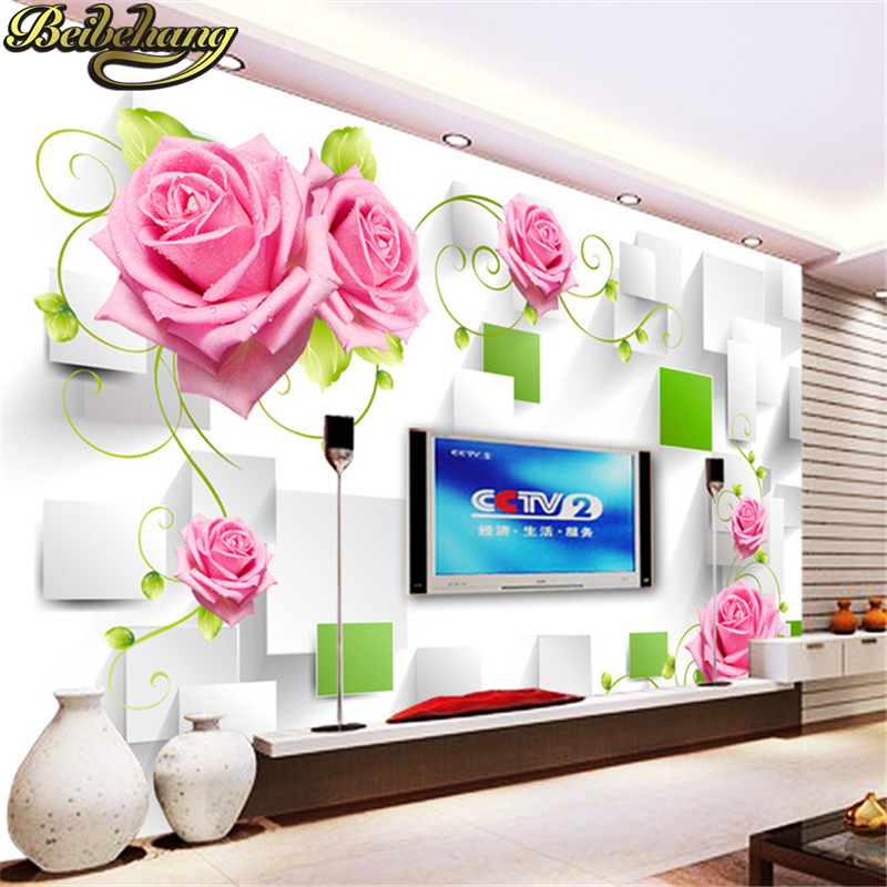 Beibehang Living Room Kid S Mural Tv Setting Wall Photo Wallpaper Pink Rose White Papel De Parede