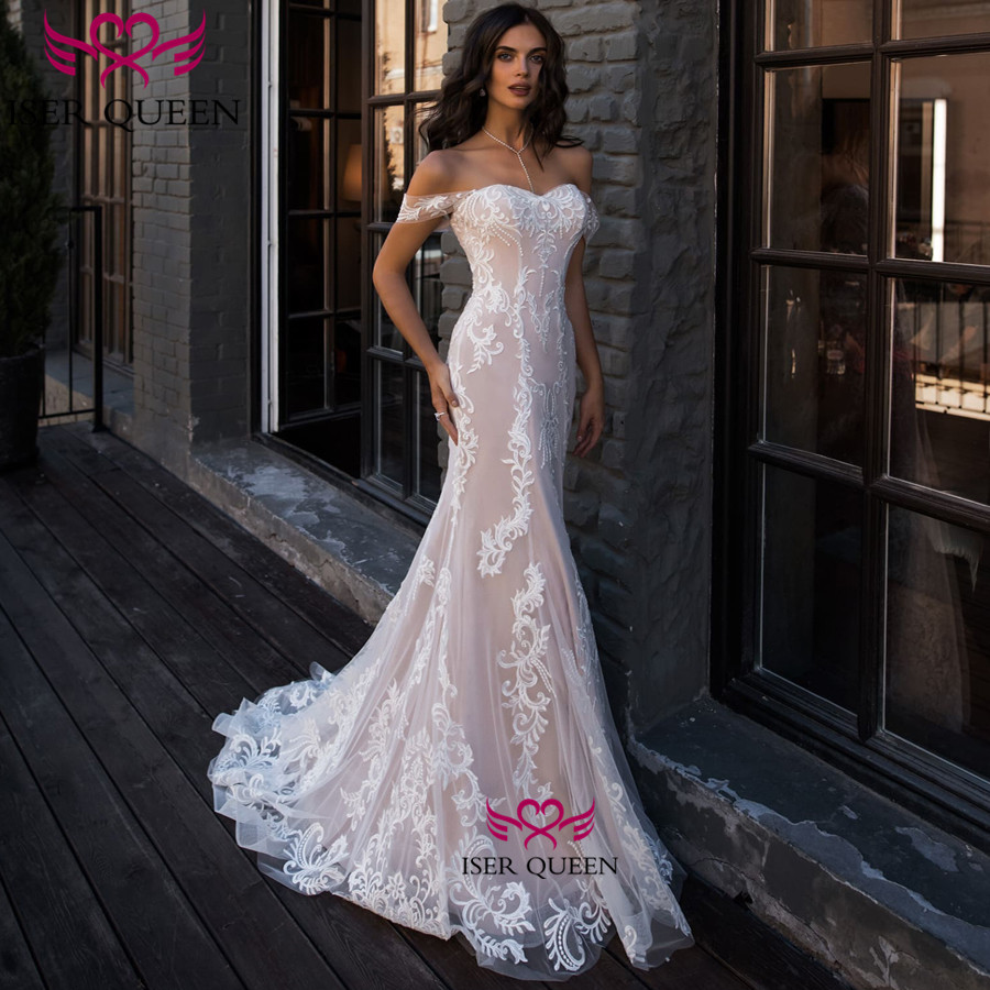 Cap Sleeve Delicate Embroidery Lace Up Bridal Dresses French Style Chapel Train Mermaid Wedding Dress 2019 Vintage W0524