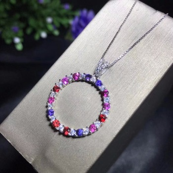 Natural sapphire necklace, colored sapphires, rare gems, I love you necklace, 925 silver