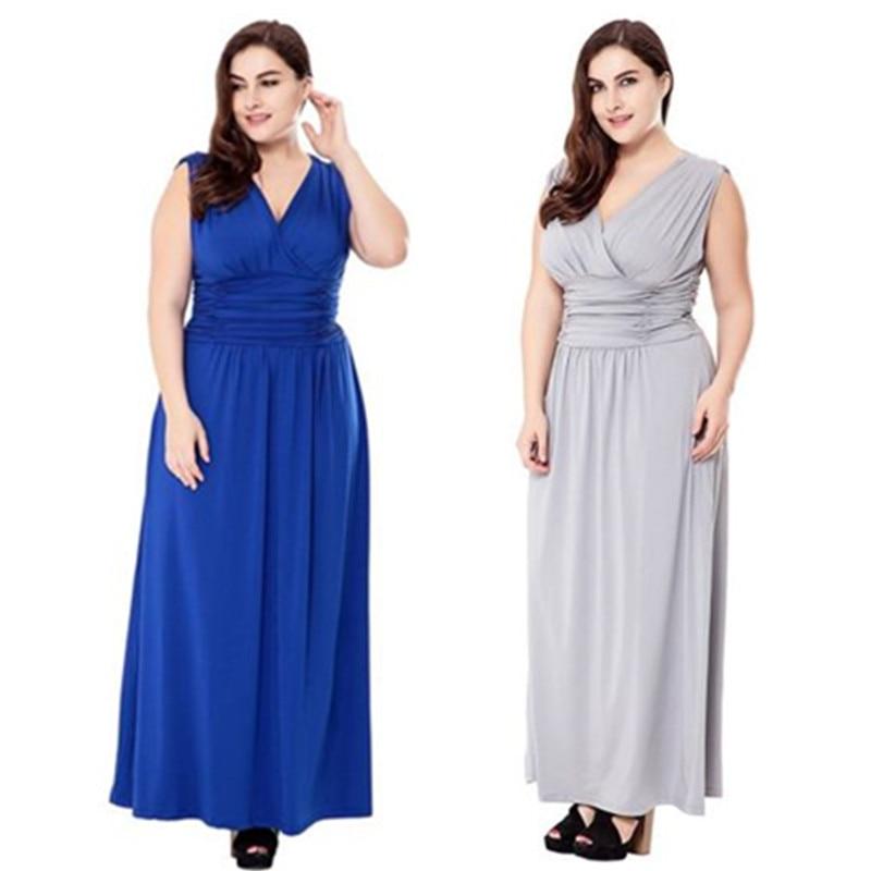 Большие размеры вечерние платья 2018 v-образный вырез А-силуэта дешевые шифоновые без рукавов ярко-синий длинный свободные платья для матери ...