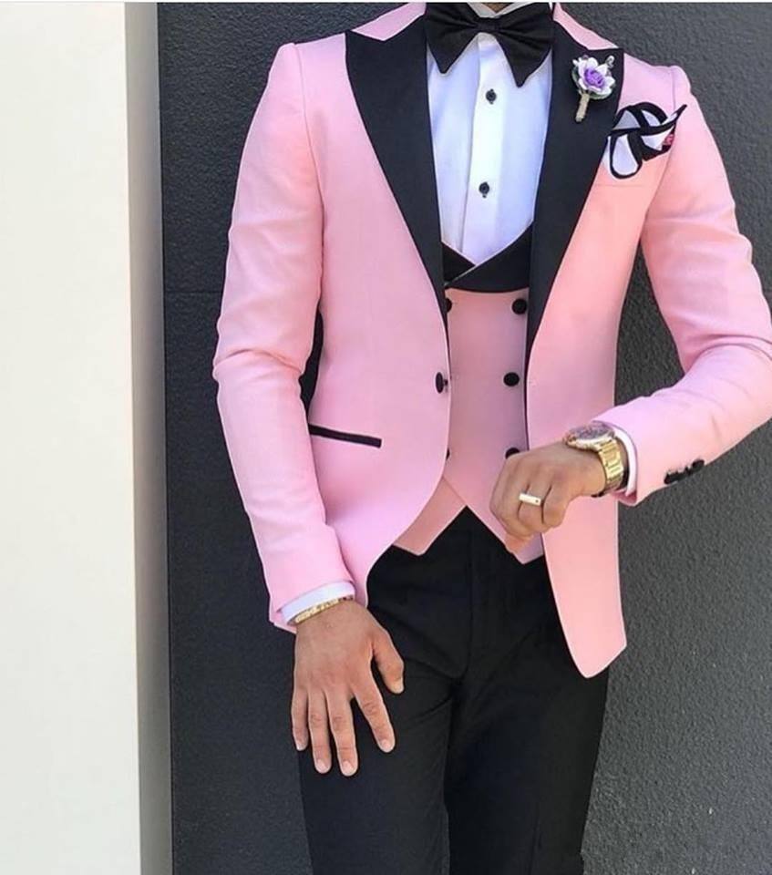 Suits Jacket Custom Wedding Black 3piece Vest Pant Groom Slim Pink with Lapel for Men