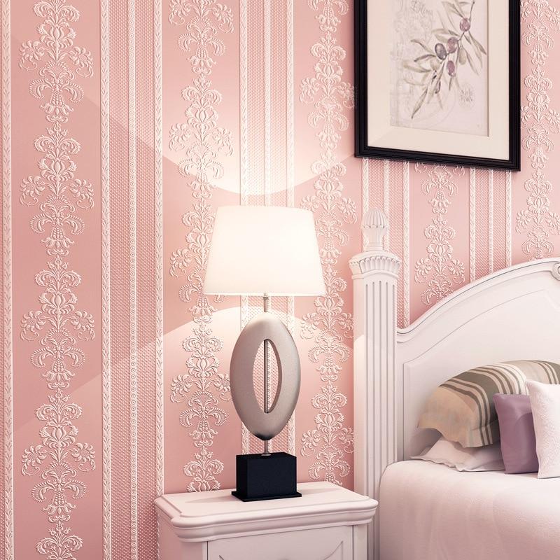 3D Embossed Flower Wallpaper Desktop 3D Pink Floral Wallpaper Roll Modern Living Room Wall Paper Non