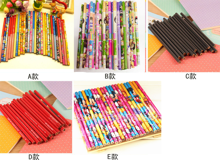 25pcs / Lot Children Pupils Learning Stationery Cartoon Wooden Pencil Primary School Supplies Children Styluses Stationery