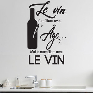 Image 1 - شخصية الفرنسية النبيذ شعار مطعم المطبخ الفينيل زين ملصق مطعم المطبخ ذاتية اللصق جدارية CF14