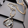 Lemon Value New Brand Geometry Rhinestone Long Necklace Vintage Punk Triangle Crystal Glass Pendant Necklaces Women Jewelry A009